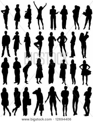 32 silhuetas de forma humana - vector