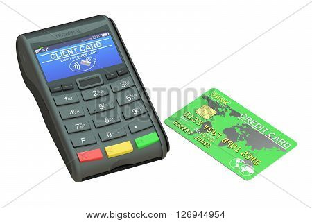 POS terminal and credit card 3D rendering