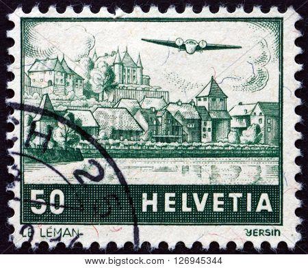 SWITZERLAND - CIRCA 1941: a stamp printed in the Switzerland shows View of Lake Geneva circa 1941