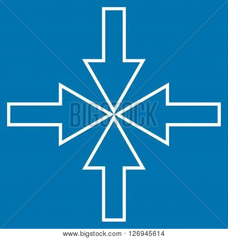 Compact Arrows vector icon. Style is contour icon symbol, white color, blue background.