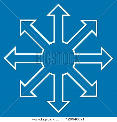 Enlarge Arrows vector icon. Style is thin line icon symbol, white color, blue background.
