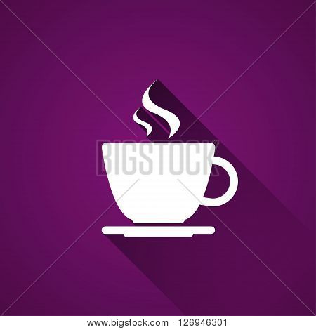 Cup of coffee on purple background simple vector icon