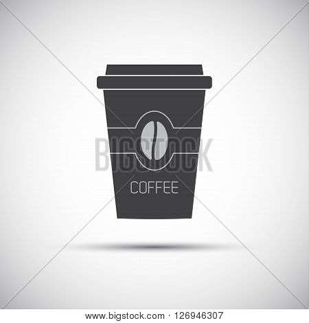 Simple icon paper cup of coffee with coffee bean vector illustration