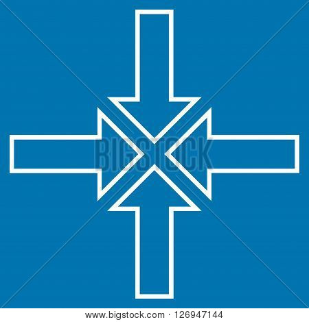 Meeting Point vector icon. Style is stroke icon symbol, white color, blue background.