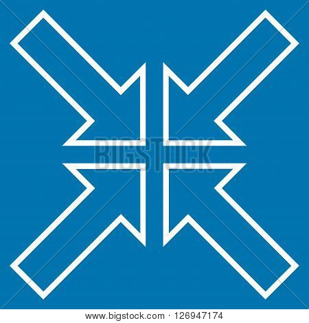 Meeting Point vector icon. Style is thin line icon symbol, white color, blue background.