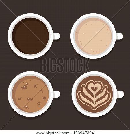 Different types of coffee: espresso cappuccino and latte art. Top view coffee cups vector illustration. Flat icon set.
