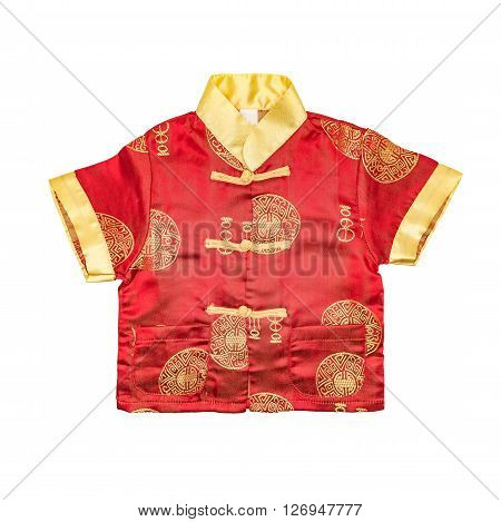 Chinese Boy's Traditional Clothing With Clipping Path