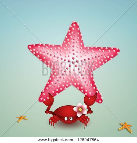 an illustration of Crab with pink starfish