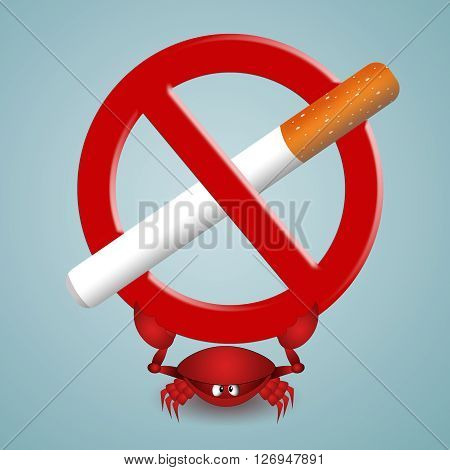 an illustration of funny crab with cigarette