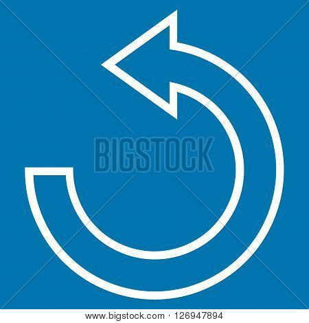 Rotate Ccw vector icon. Style is outline icon symbol, white color, blue background.