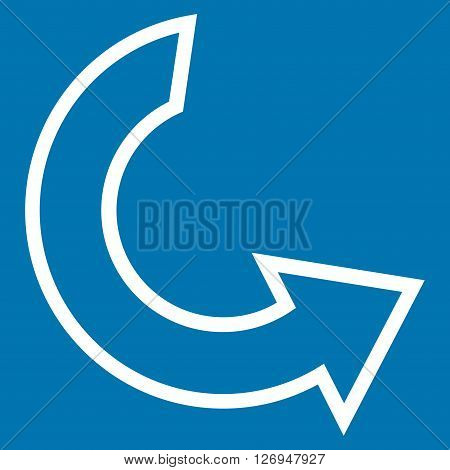 Rotate Ccw vector icon. Style is stroke icon symbol, white color, blue background.