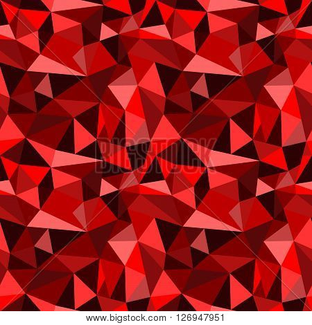 Vector Seamless Red Abstract Geometric Rumpled Triangular Graphic Background. Digital Vector Illustr