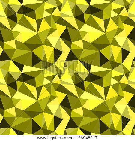 Vector Seamless Yellow Abstract Geometric Rumpled Triangular Graphic Background. Digital Vector Illu