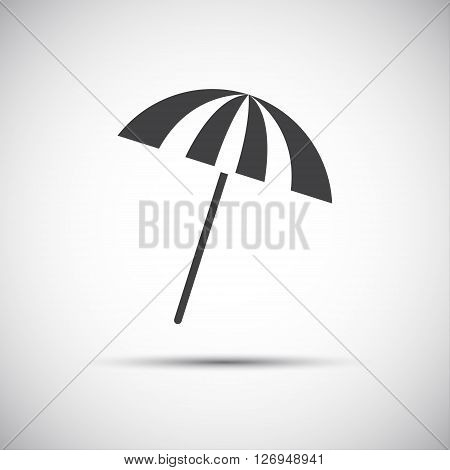 Simple grey beach umbrella icons vector illustration