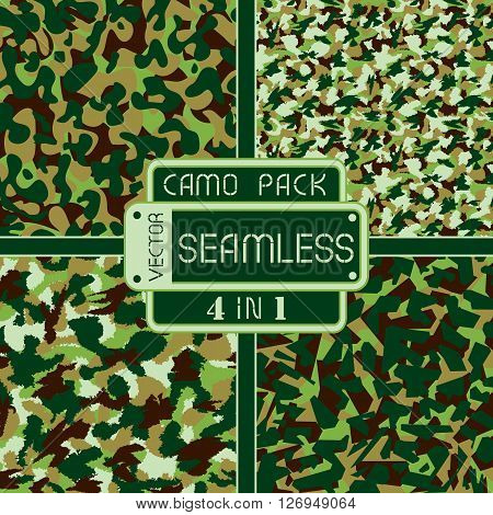 War Universal Nature Camouflage Pack 4 In 1 Seamless Vector Pattern. Can Be Used For Wallpaper, Patt