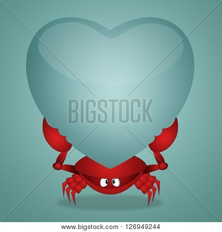 an illustration of Funny crab with heart