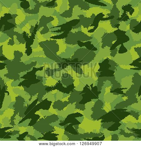 War Green Jungle Camouflage Seamless Vector Pattern. Can Be Used For Wallpaper, Pattern Fills, Web P