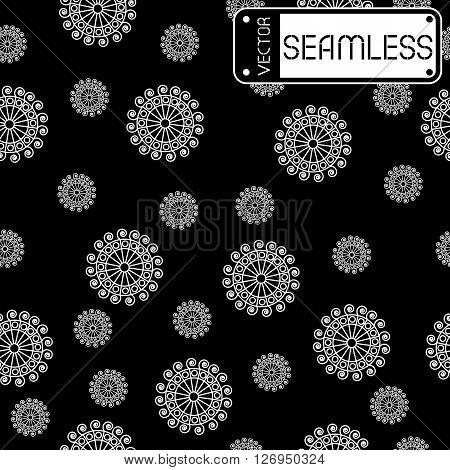 Abstract Seamless Vector White Pattern With Swirls On Black Texture Background. Vector Illustration
