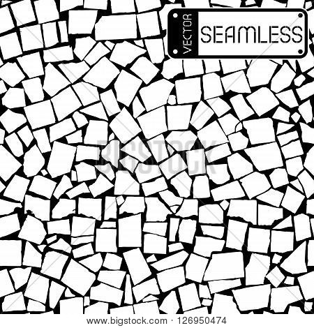 Vector Seamless Texture Of Black And White Asymmetric Decorative Tiles Wall. Vector Illustration