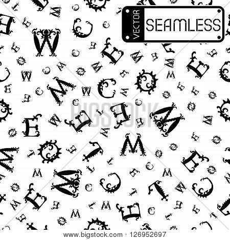 Vector Seamless Vintage Pattern With Black Curved Letters On White Background. Vector Illustration