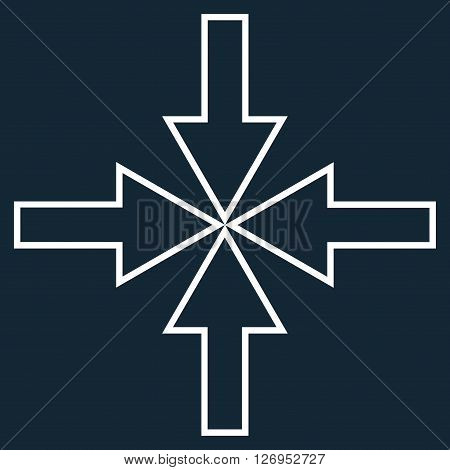 Compact Arrows vector icon. Style is thin line icon symbol, white color, dark blue background.
