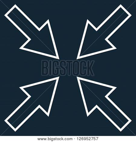 Compact Arrows vector icon. Style is stroke icon symbol, white color, dark blue background.