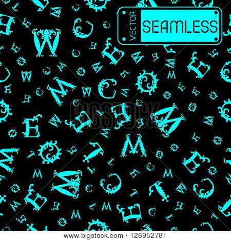 Vector Seamless Vintage Pattern With Cyan Curved Letters On Black Background. Vector Illustration