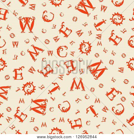 Vector Seamless Orange Vintage Pattern With White Curved Letters On Beige Background. Vector Illustr