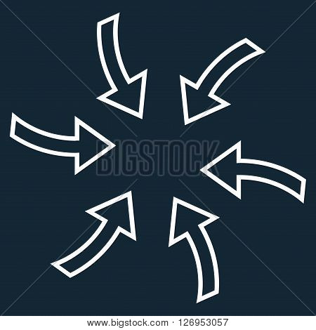 Cyclone Arrows vector icon. Style is stroke icon symbol, white color, dark blue background.