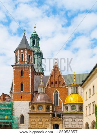 Wawel cathedral, or The Royal Archcathedral Basilica of Saints Stanislaus and Wenceslaus on the Wawel Hill, Krakow, Poland