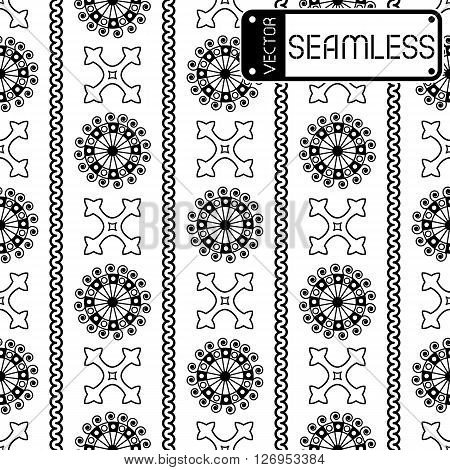 Vector Seamless Black Vintage Ornamental Pattern On White Background. Vector Illustration