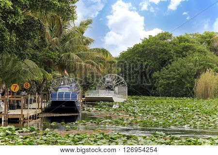 Air-boat in the swamp for tour to see alligators and crocodiles