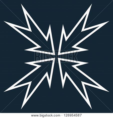 Meeting Point vector icon. Style is contour icon symbol, white color, dark blue background.