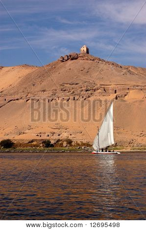 Tombs and Felucca, Aswan