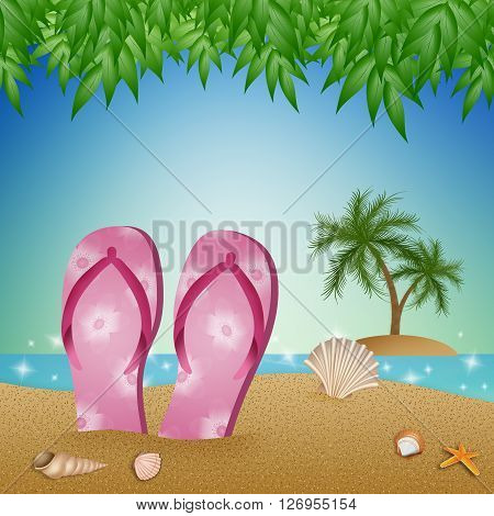 an illustration of Flip-flops on the beach