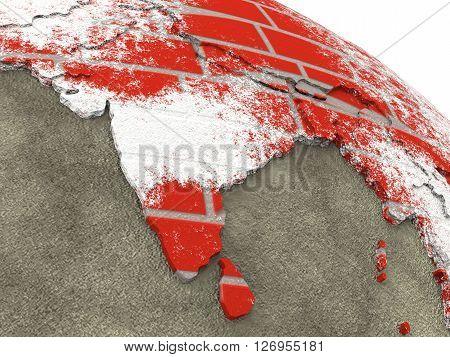 India On Brick Wall Earth