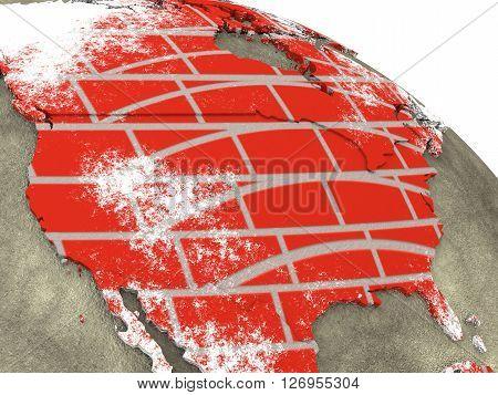 Usa On Brick Wall Earth