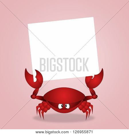 an illustration of Crab with white sign