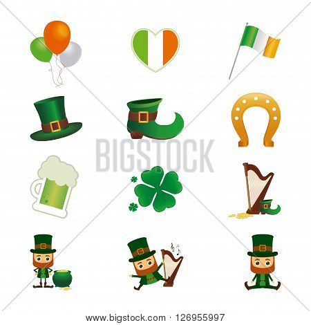 Set of different saint patrick's day icons on a white background
