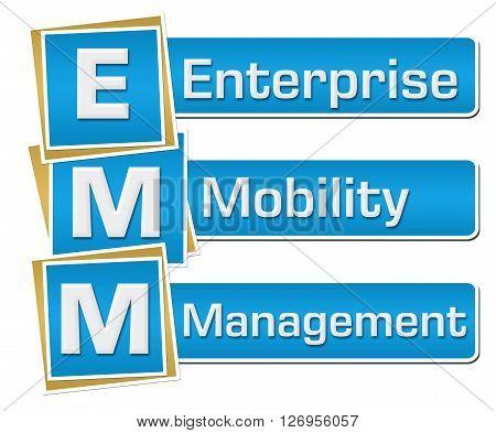 EMM - Enterprise Mobility Management text alphabets over blue background.