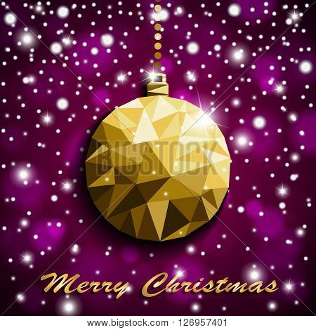 Origami Style Gold Christmas Toy With Shadow On Illuminated Violet Blurred Shiny Background With Sno