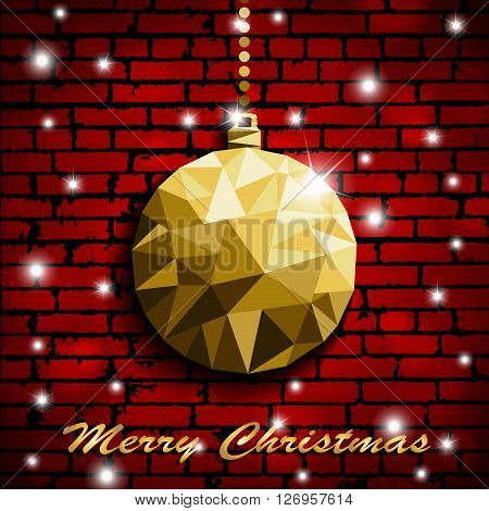 Origami Style Gold Christmas Toy With Shadow On Illuminated Red Brick Wall Background. Vector Illust