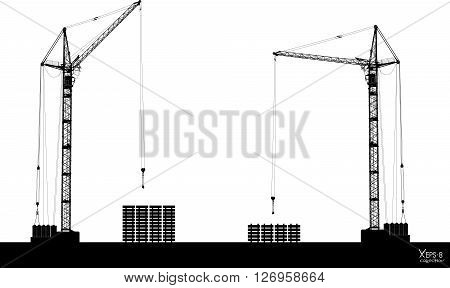 High detailed vector hoisting cranes isolated on white. Vector illustration