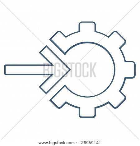 Integration Arrow vector icon. Style is stroke icon symbol, blue color, white background.