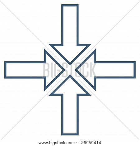 Meeting Point vector icon. Style is contour icon symbol, blue color, white background.