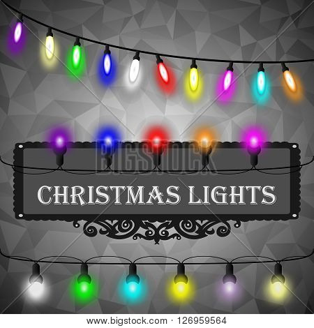 Christmas Lights Decorations Set On Black Abstract Geometric Rumpled Triangular Graphic Background.