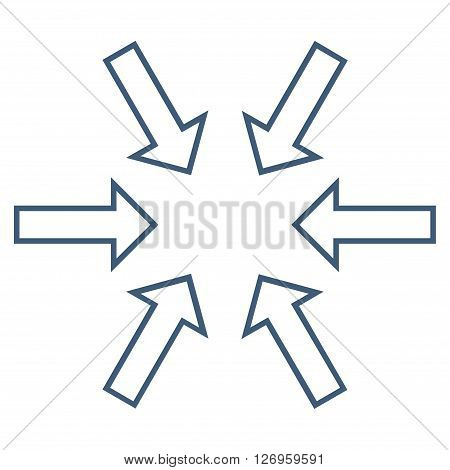 Pressure Arrows vector icon. Style is thin line icon symbol, blue color, white background.