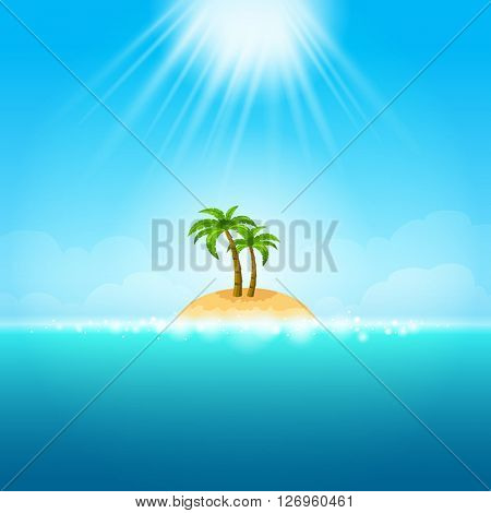 Tropical island in the blue sea - can be used to illustrate summer vacation, relaxation on the beach, traveling