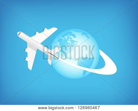 Airplane flying around the world - can be used to illustrate traveling, adventure, holidays.