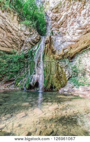 Italy, Udine, San Leonardo del Friuli - The main waterfall of Rio Patok